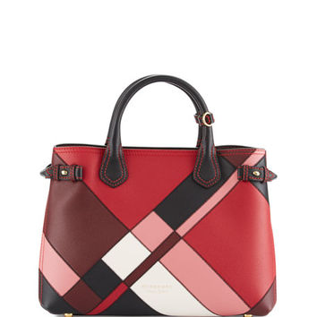 Burberry Banner Medium Patchwork House Check Tote Bag, Pink