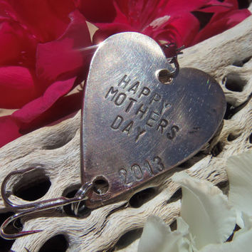 Handstamped Antique Bronze Heart Fishing Lure Dad Husband Father Wife Mom Mother Fishing Gift Mothers and Fathers Day - Ready to ship