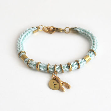 Initial bracelet, personalized bracelet with initial charm, wish bracelet, wishbone bracelet, gift for her