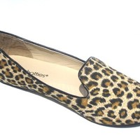 Womens Faux Suede Loafer Smoking Shoes Flats (5/6, Leopard 4024)