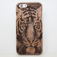 Cherry Tiger Wood Case Solid wood Retro Wooden New Cover Carving flower Patterns Wood Slice Plastic Edges Back Cover for Iphone 6 case iPhone 6 Plus