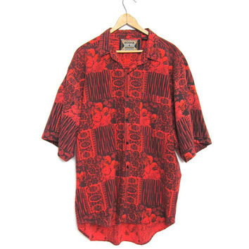 80s Abstract Button Up Tshirt Red Black FLORAL Printed Retro Hipster Tee Loose Fit Slouchy 1980s Graphic Top Mens large