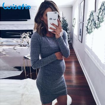 Wisefin Women Maternity Mini Dresses Long Sleeve Casual Pregnancy Lady Clothes Autumn Plain Silm Maternity Dress For Pregnant