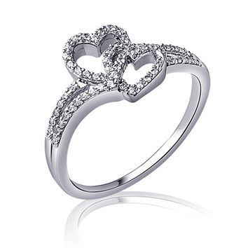1/4 CT. T.W. Diamond Entwined Hearts Promise Ring in Sterling Silver