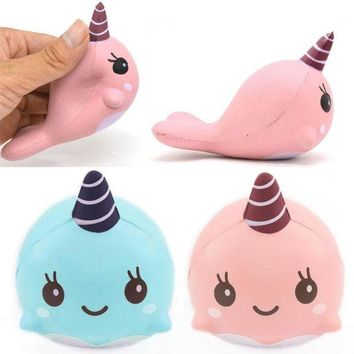 VONFC9 9CM Cute Toddler Soft Whale Cartoon Squishy Slow Rising Squeeze Toy Phone Straps Ballchains Scented Bread Cake Kids Toys Gift