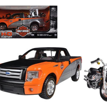 2010 Ford F-150 STX Orange-Black-Silver 1-27 & 1-24 Harley Davidson FLSTF Fat Boy Motorcycle by Maisto
