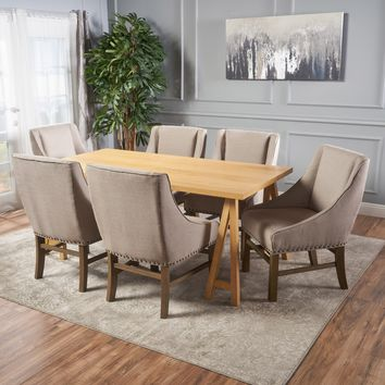 Sarrave Farmhouse Natural Oak Dining Set with Silver Fabric Dining Chairs