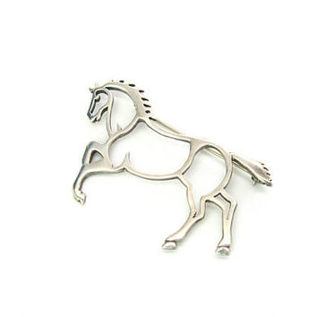 Navajo Horse Brooch Rearing Wild Pony Sterling Silver Outline Signed BW Belinda Woody Vintage Authentic 1990s Native American Animal Jewelry