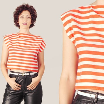 80s Red & White Stripes Crop Top / Nautical Striped Boxy Fit Blouse / Cut Out Cotton Medium Cropped Top