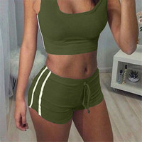 2Pcs Women's Sport Gym Yoga Vest Fitness Crop Tops Tank Shorts Workout Set NEW