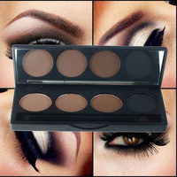 4 Color Professional Makeup Eye Shadow Palette - Double End Brush