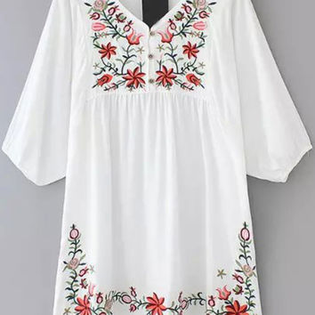 White V Neck Hibiscus Embroidered Loose Dress | MakeMeChic.COM