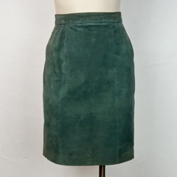 Vintage Suede Leather Pencil Skirt Dark Green Teal High Waist Knee Length 80s 90s Fashion