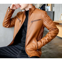 Mens Stand Collar Motorcycle Faux Leather Jacket in Brown
