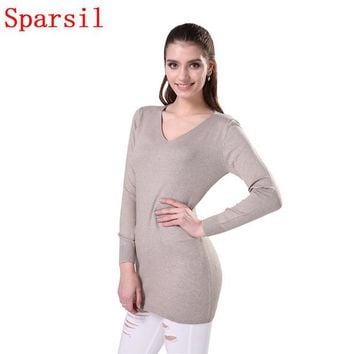 Women's Winter Classic V-Neck Blend Pullover Autumn Female Long Sleeve Soft Knitwear Sweater