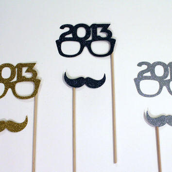 Perfect Holiday Photo Props - Set of 6 - Gold, Silver and Black Glitter Mustaches and 2013 Glasses - New Years Props - Photo Booth Props