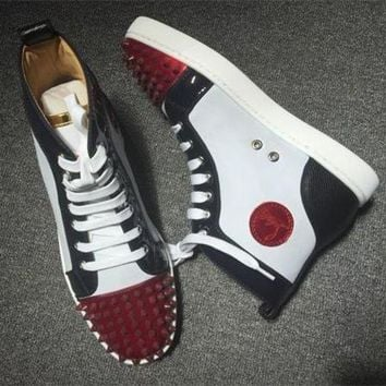 PEAPUX5 Cl Christian Louboutin Lou Spikes Style #2209 Sneakers Fashion Shoes