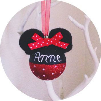 Handmade Personalized Glitter Minnie Mouse Ornament Polka Dot