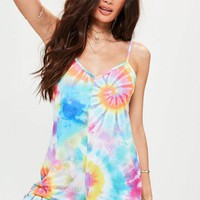 Missguided - Pink Tie Dye Strappy Jersey Romper
