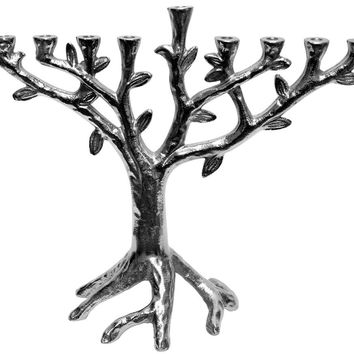 "Lamp Lighters Ultimate Judaica Metal Aluminium Menorah Tree Design with Nickel Plated Finish - 10""H"