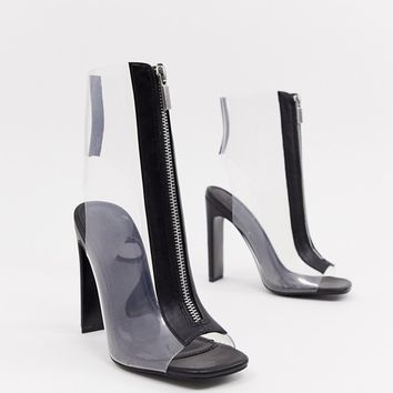 ASOS DESIGN Elody clear heeled boots at asos.com