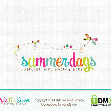 Premade Dragonfly Logo Photography Logo Small Business Branding Watermark Design Hand Drawn
