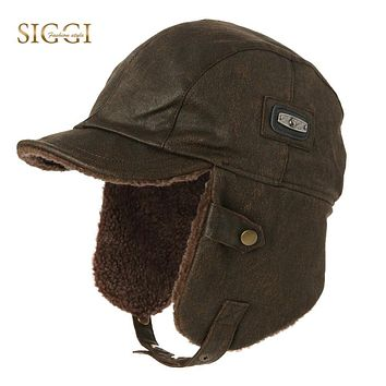 Winter Men Bomber Hats Aviator Cap Earflap for Women SIGGI Russian Hat Windproof Pilot faux Leather Trapper Hunting Unisex 88115