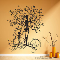 Skeleton wall decal, tree wall decal, tree of life wall decal, tree wall art, gothic wall decal, living room wall decal, bedroom wall decal