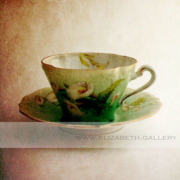 Spring Tea Cup Photography 8x10 Wall Print - Blue and White Vintage Tea Cup Print