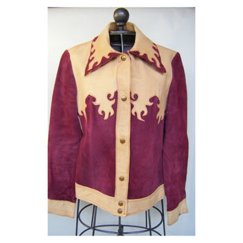Vintage Leather Suede Western Wear Jacket Red Tan Country Boho Cowgirl Southwestern