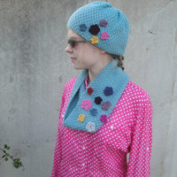 Flowery Cowl & Hat Set, Hand Knit, Cowl Scarf/Beanie Hat with Flower Embellishment