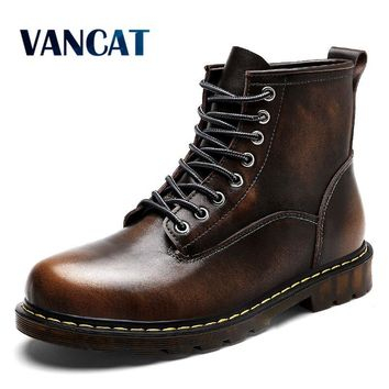Vancat High Quality Genuine leather Men Boots Winter Waterproof Ankle Boots Martin Boots Outdoor Working Boots Men Shoes