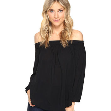 Splendid Rayon Voile Off Shoulder Top Black - Zappos.com Free Shipping BOTH Ways
