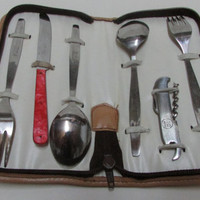Vintage Sets for a Picnic for Two Stainless Steel, Accessory for Picnics, Accessory for Picnics, Camping Accessories to Eat, Tourist Set