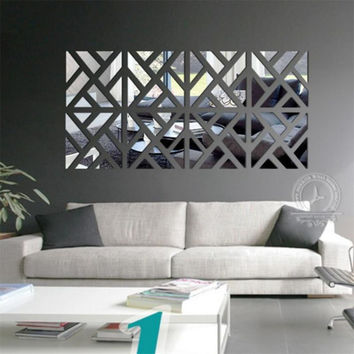 24pcs 3D Mirror Wall Stickers Home Decor