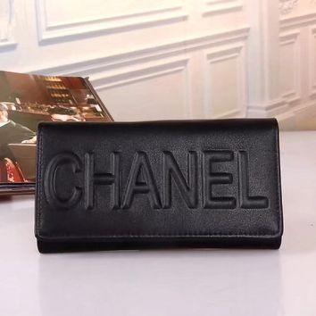 """""""Chanel"""" Solid Color Letter Embossed Long Section Purse Women Button Three Fold Wallet"""