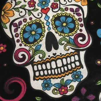 Folkloric Skulls by David Textiles - 100% Cotton Halloween fabric - 1/2 yard