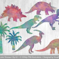 Watercolor Dinosaur Clip Art, Dinosaur Clipart, Digital Dinosaurs, Palm Tree Clipart, Dino Scrapbooking Clipart Tyrannosaurus Dinosaur Party