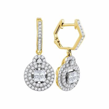 14kt Yellow Gold Women's Princess Diamond Double Circle Frame Dangle Earrings 1.00 Cttw - FREE Shipping (USA/CAN)