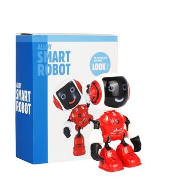 Electric LED Sound Intelligent Alloy Robot Toys Novelty Phone Stand For Kids Multi-function Handheld Mini Robot Christmas Gifts