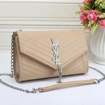 Perfect YSL Yves Saint Laurent Women Fashion Leather Chain Satchel Shoulder Bag Crossbody