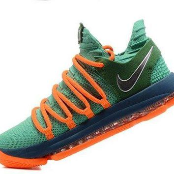 CHENEIR Creative Nike Zoom KD 10 EP Green Orange Kevin Durant Men's Basketball Shoes Sneakers