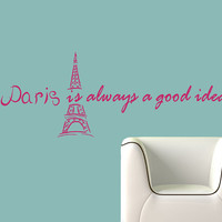 Vinyl Decals Paris Eiffel Tower  Audrey Hepburn Quote Phrase Home Wall Decor Removable Stylish Sticker Mural L588 Unique Design for Any Room