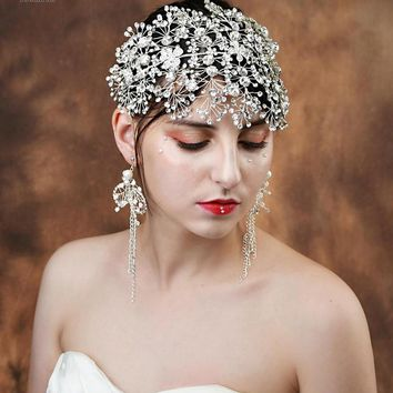 2019 Bridal flower headband rhinestones fascinator