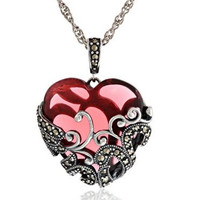 """Garnet-Colored Glass Heart with Filigree Pendant Necklace and Sterling Silver Oxidized Marcasite 18"""""""