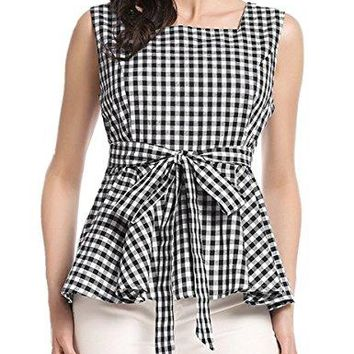 Womens Gingham Plaid Check Blouse BowKnot Square Neck Shirt Loose Ruffle Swing Sleeveless Cotton Top
