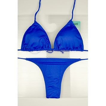 Blue 3 Piece Set Triangle Top, Side Tie Thong & Side Tie Scrunch Bottom Bikini Swimsuit (Many colors available)