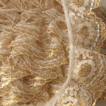 "2 YARDS Ruffled Lace Trim , White with Gold, 2"" wide"