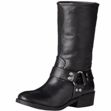 Lucky Brand Rolanda Black Leather Mid Calf Motorcycle Boots 7.5 M