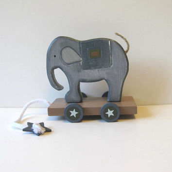 Vintage Wooden Elephant pull toy, Primitive Folk Art, Home decor